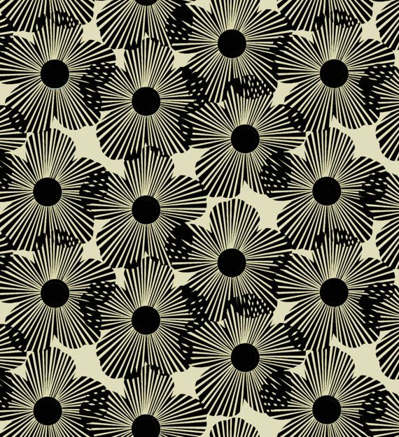 STYL MOD Blossoms in Black 7992 Cotton Fabric by MoonaFabrics