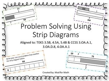 NEW Problem Solving Using Strip Diagrams Task Cards Grades