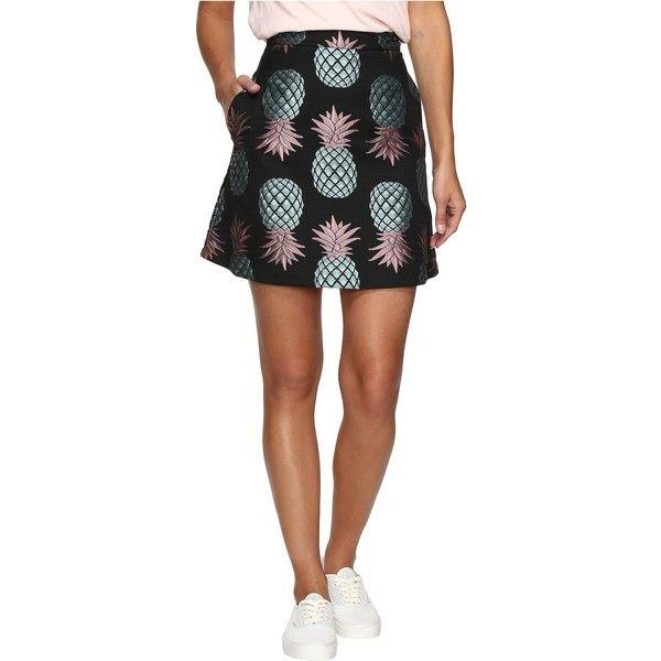 HOUSE OF HOLLAND Pineapple Skater Skirt (Black) Women's Skirt (€130) ❤ liked on Polyvore featuring skirts, mini skirts, black, high waisted skater skirt, high-waist skirt, high-waisted skater skirts, high-waisted flared skirts and embroidered mini skirt