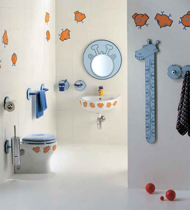 Excellent 10 Cute Kids Bathroom Decorating Ideas : Excellent 10 Cute Kids  Bathroom Decorating Ideas With White Wall Color Closet Blue Towel Mirror  Tissue ... Part 27