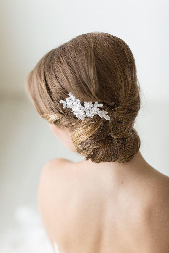 petite dentelle cheveux peigne pingle cheveux de marie floral mariage accessoire de cheveux - Epingle A Nourrice Mariage