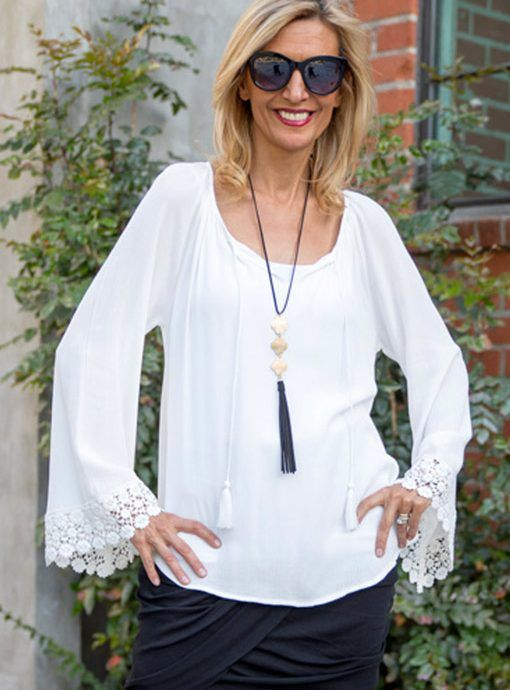 White Peasant Blouse With Lace Trim Cuffs $56.00 www.jacketsociety.com