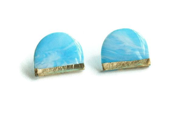 Blue half-moon marble clay gold leaf stud by InviolaJewerly