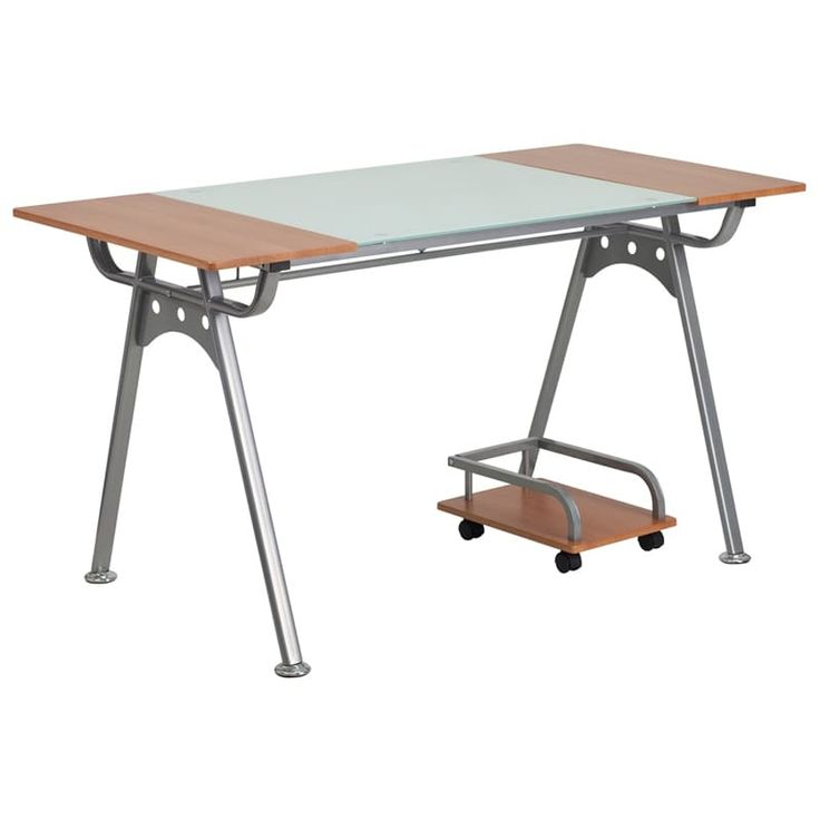 iHome Hamlet Home/Office Computer Desk w/Glass and Cherry Laminate Top, Red, Size Large