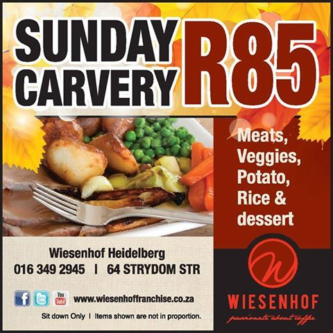 Calling all Mom's in the Heidelberg area! Put your foot down and boycott the kitchen on Sunday! Rather join us for our special Sunday Carvery!