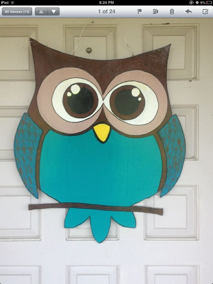 owl door hanger accent with ribbon
