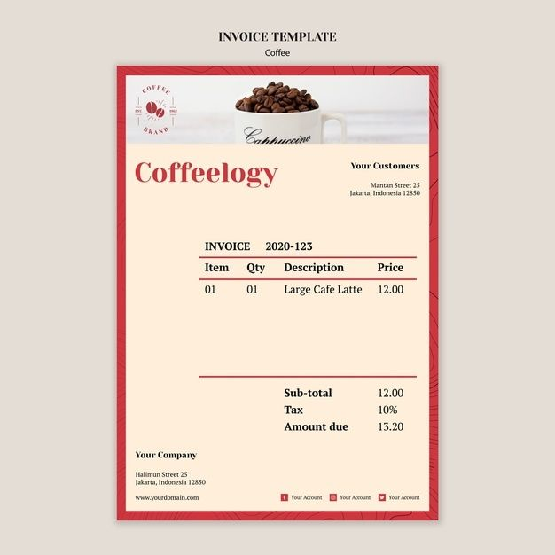 Download Creative Coffee Shop Invoice Template For Free Invoice Template Creative Coffee Templates
