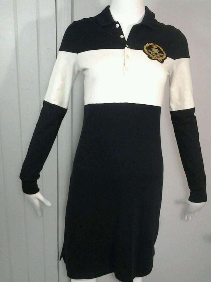 Women's Ralph Lauren Sport Black Polo Shirt  Dress Classic Crest Logo SZ Medium  #RalphLaurenSport #CollaredPoloTShirtDressShirtDress #Casual