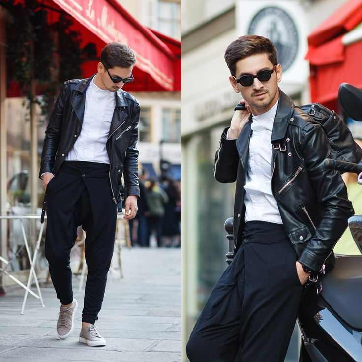 Blog post: http://themysteriousgirl.ro/ro/2015/10/paris-vibe/  Instagram: https://instagram.com/adriansunriseinc  black leather jacket outfit white shirt t-shirt blouse pants tapered joggers sneakers axel arigato viishow asos mvmt watch zerouv sunglasses tartoise