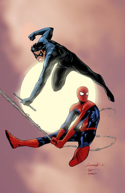 thehappysorceress:  Spider-Man and Nightwing by Aaron Lopresti, inks by Jim Tournas, and color by Josh Templeton
