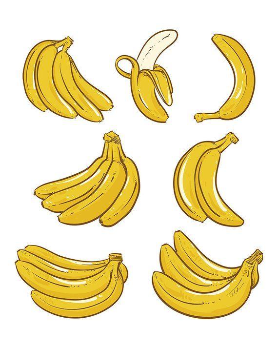 80 Off Sale Yellow Bananas Vector Illustration Overripe Etsy In 2021 Banana Painting Banana Art Banana Sketch