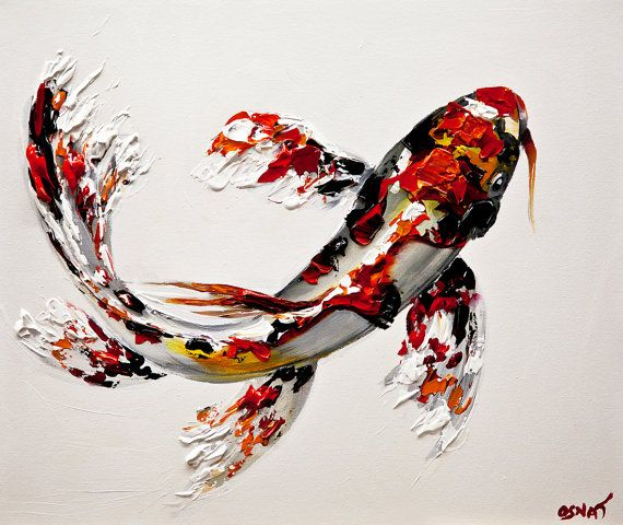 Modern Koi Fish Print on Canvas Embellished Giclee by OsnatFineArt