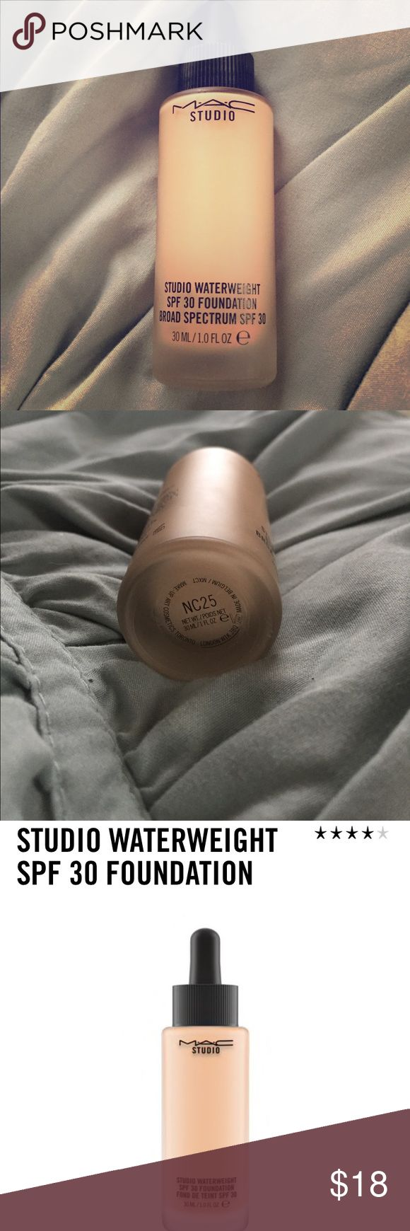 MAC Studio Waterweight Foundation NC25 Used 5-10 times. I prefer bare minerals :) Purchased last year at Macy's; no box. MAC Cosmetics Makeup Foundation