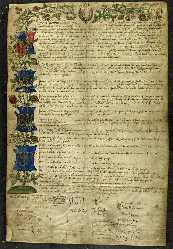 Jousting rules for a tournament, 1511-To celebrate the birth of his son Prince Henry in 1511, Henry VIII proclaimed an allegorical tournament of the sort developed in the previous century at the court of the Dukes of Burgundy.
