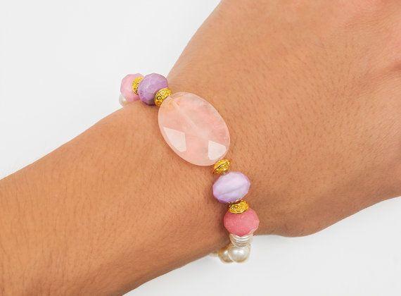 Fresh water pearls bracelet pink quartz by ErikaKormaDesigns