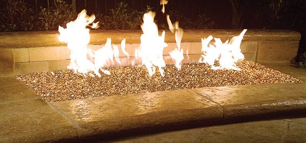 """Fire Pit Glass  crystals  look like diamonds and jewels on fire, flickering as the flames  dance on top  of Glass """"Ice"""" Rocks. The Ultra Clean Alternative to Logs or Lava Rocks in your outdoor Fire pit that lasts a lifetime without ever burning, melting or  discoloring."""