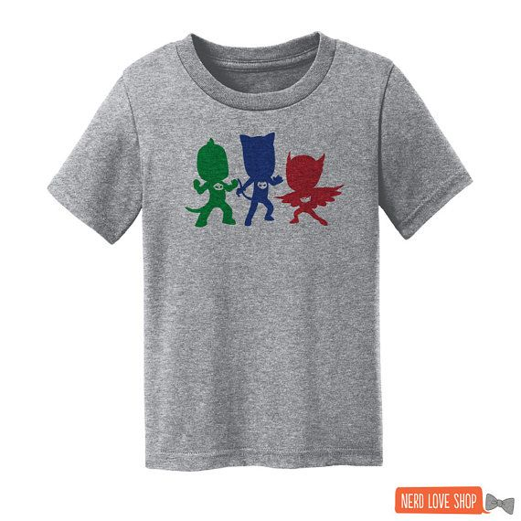 "PJ Masks - ""PJ Masks's Silhouettes"" - PJ Masks Shirt - Owlette Shirt -  Catboy Shirt - Gekko Shirt - Gray Toddler and Youth Size T-Shirt"