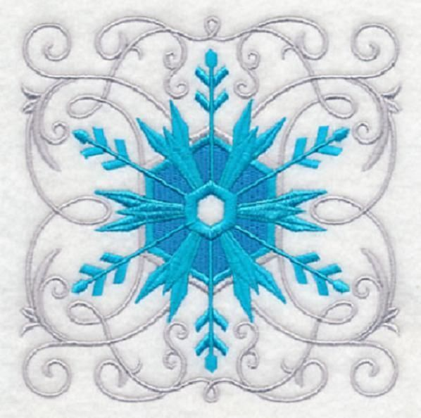 Embroidered Snowflake quilt block,christmas fabric,cushion panel, quilt, xmas