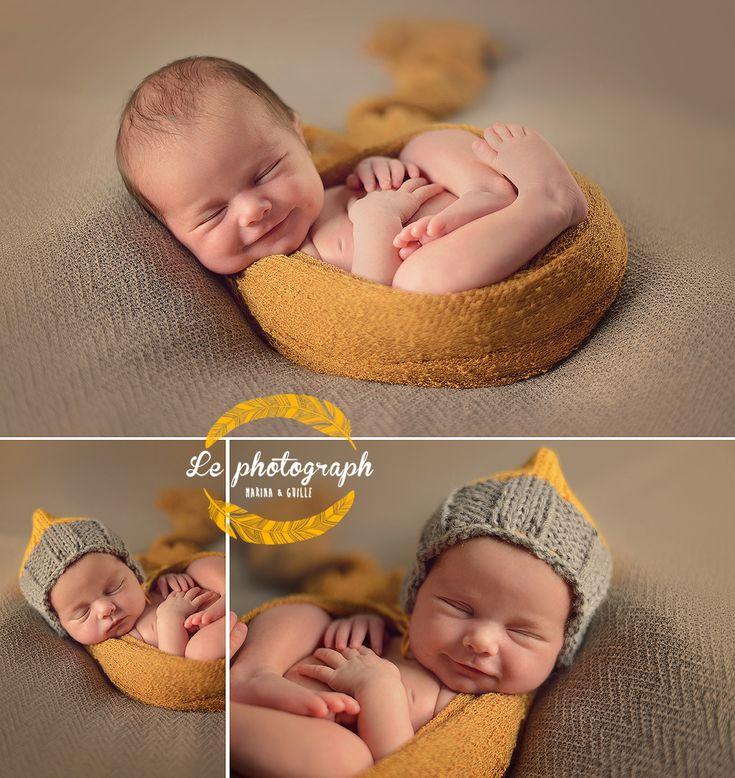 Newborn baby girl - photography - Browns and yellow props. Fotografía de recién nacidos en Bilbao - Set marrón y amarillo