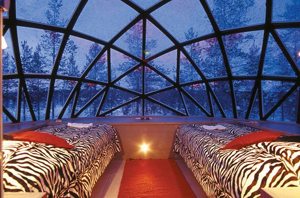 Hotel Kakslauttanen offers a crystal clear view of the Northern lights and stars, all while comfortably relaxing in your room.