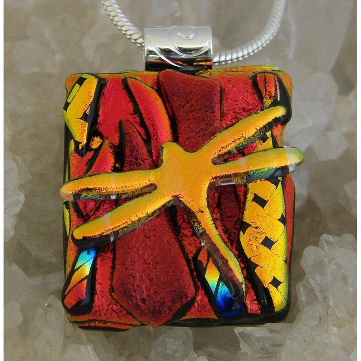 Picasso Style Dichroic Glass Pendant includes necklace PS5 - glass