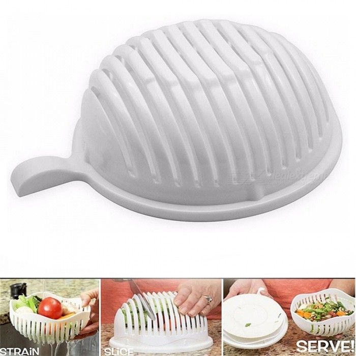 KICCY Salad Maker Healthy Slicer Fresh Fruit Tool Cutter Bowl - White