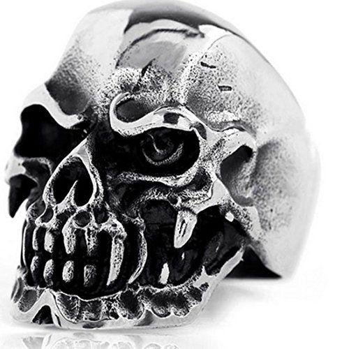 Elove Jewelry Gothic Skull Stainless Steel Men's Biker Ring Silver BlackSize 11