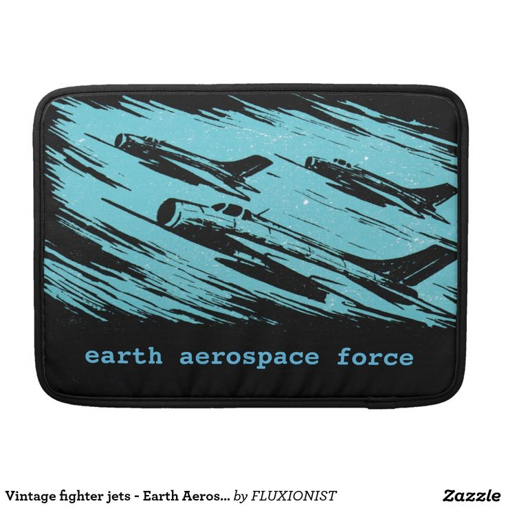 """Earth Aerospace Force: Jet Fighters"" Sleeves For MacBook Pro - $71.00 Made by Rickshaw Bagworks / Design: Fluxionist"
