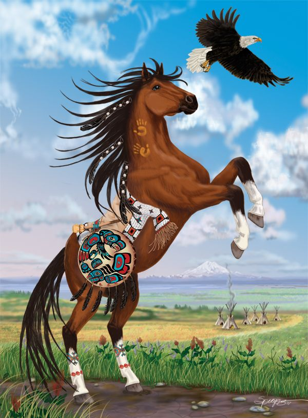 Native American Horse with Eagle Spirit