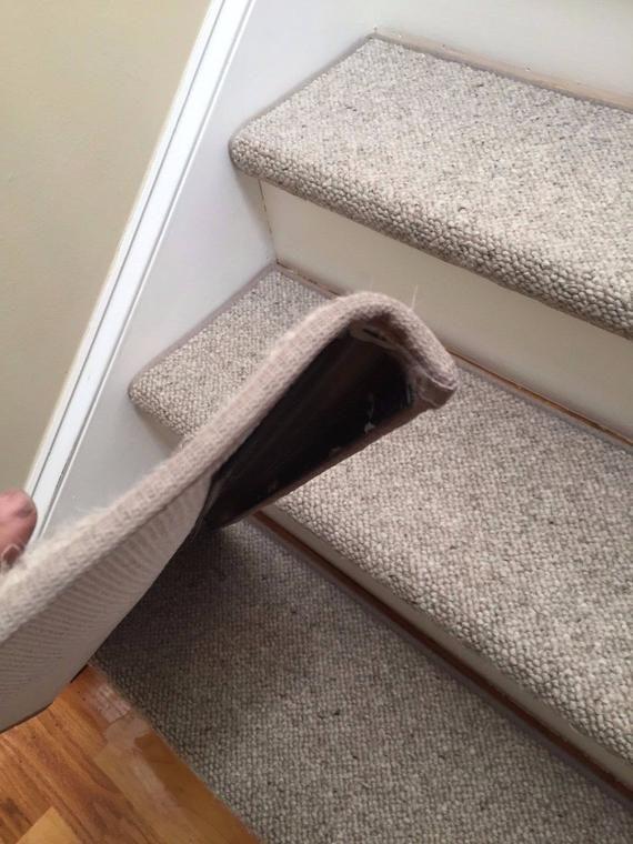 Alfa Stone 100 Wool True Bullnose™ Padded Carpet Stair Tread | Outdoor Carpet Stair Treads | Stair Runner | Rug | Stair Nosing | Slip Resistant | Flooring