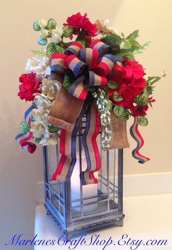 Patriotic lantern bow decorations th of july
