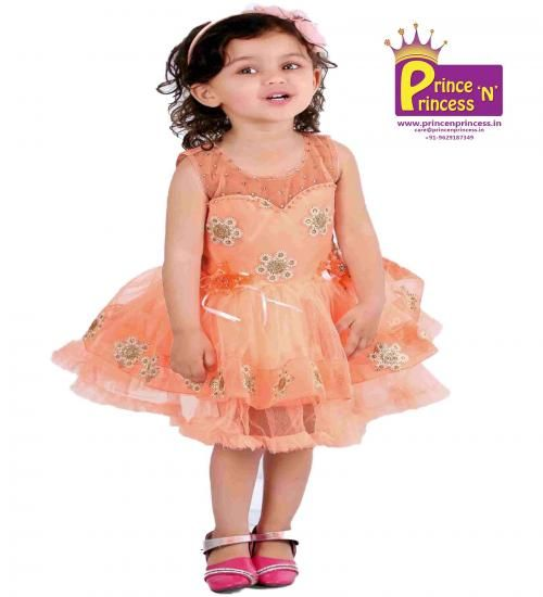 Kids Peach cute Party & Birthday frock.. BUY Online @ www.princenprincess.in .. Gown