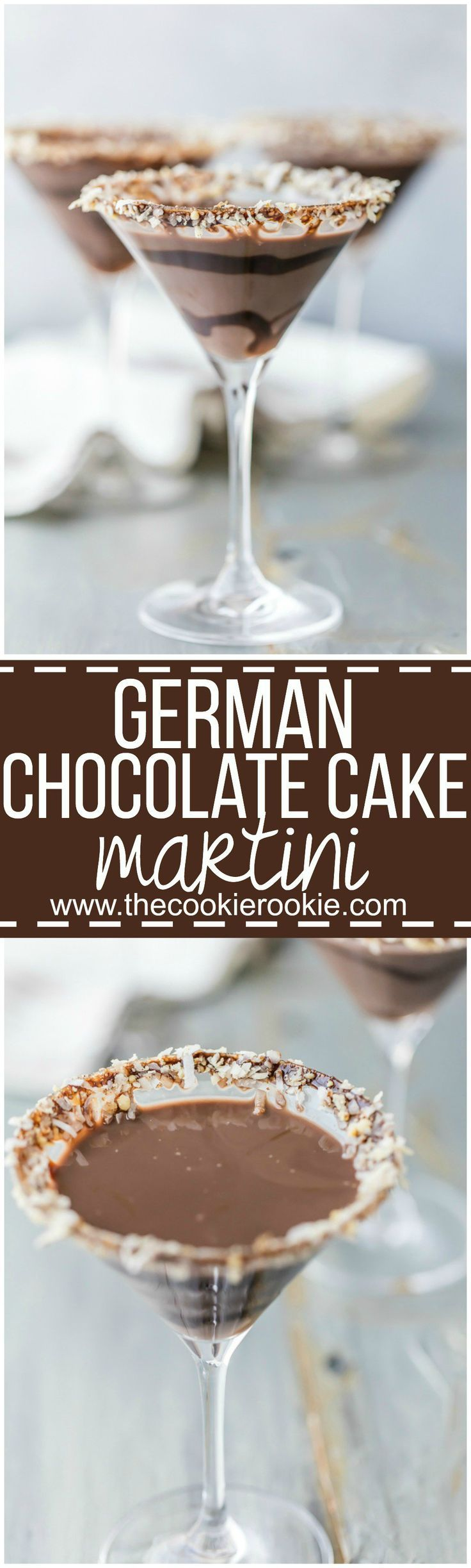 This German Chocolate Cake Martini is the perfect dessert cocktail! Tastes like you're taking a bite out of your favorite cake, in martini form! SO EASY and delicious!