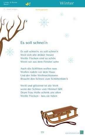 """""""Es soll schnei´n"""" - Winter Gedicht - aus """"Lieder & Reime 1"""" - www.kitakiste.jimdo.com"""