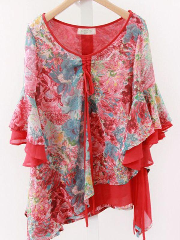 ボヘミア肌触りいいVネック5分袖不規則花柄シフォンブラウス - レディースファッション激安通販|20代·30代·40代ファッション