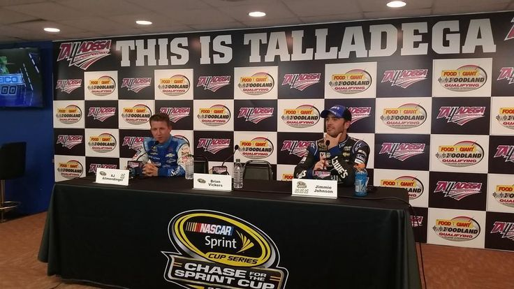"These 2 discuss a ""bizarre"" #GEICO500 qualifying session here today. Jimmie will start P2, AJ P3. #NASCAR"