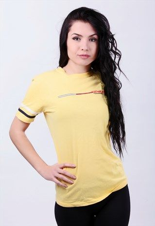 TOMMY HILFIGER JEANS VINTAGE YELLOW T-SHIRT. SIZE M
