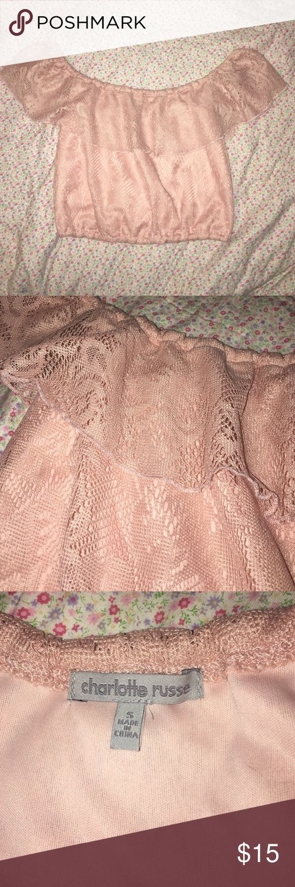 New pink lace Bardot crop top New without tags NWOT Charlotte Russe dusty rose colour pink lace off the shoulder (or on) ruffle crop top. Elastic at bottom. Bought but never wore so no flaws! So girly and flirty tags: kawaii nymphet Lolita TopShop forever 21 Charlotte Russe Tops Crop Tops