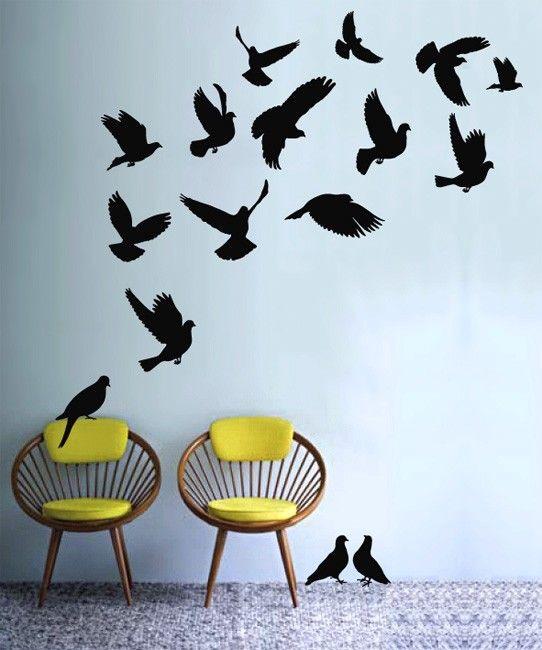Vinyl wall decals - flock of pigeons. $35.00