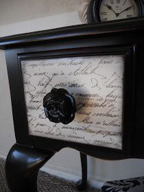How to Transfer Graphics to Furniture - this is an easy process that uses waxed paper and your choice of script or graphics - via Create Inspire:  Queen Anne Vanity with French Script Drawers