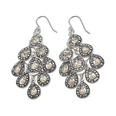 Trifari Silver Tone Simulated Pearl And Marcasite Chandelier Earrings