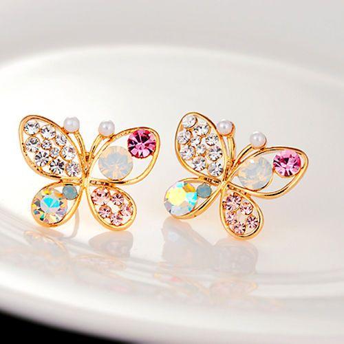 $10.000- reciosos Aretes Mariposa con piedras Tamaño 2.2cm material: aleacion de alta calidad y piedreria