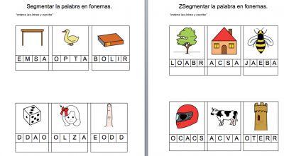 Segmentar la palabra en fonemas plantilla editable