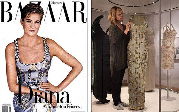 Versace, 1997. Богато декорированное строгое платье-футляр для фотосессии на обложку журнала Harper Bazaar. Диана никогда не принимала подарки. Известна история, когда после первого выхода леди Ди в платье Versace Джанни Версаче отправил ей множество своих нарядов. Через некоторое время он получил их все обратно с благодарственной запиской от принцессы.