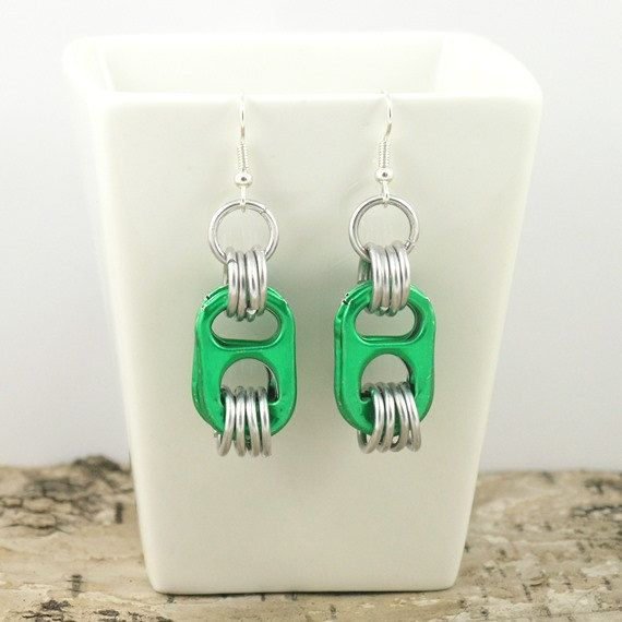 green pop tabs earrings  pair  aluminium chainmaille by tabsolute