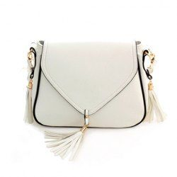 $10.69 Sweet Women's Crossbody Bag With Solid Color and Tassels Design