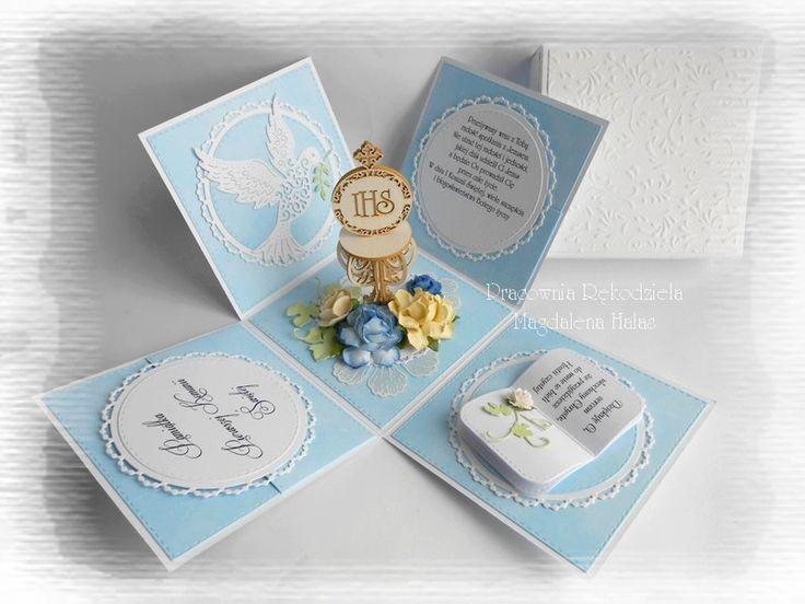 Niebieski exploding box z kielichem - magdahalas - Kartki z gratulacjami