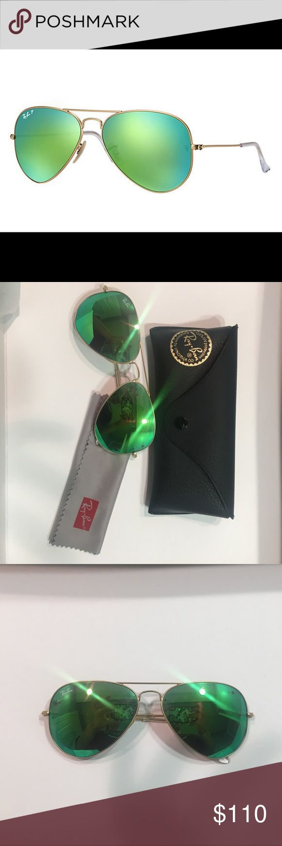 Ray-Ban Aviators Polarized in Green Flash Ray-Ban Aviators polarized with gold frames and green flash lenses. In new condition and worn twice. Comes with microfiber cleaning cloth and leather case. Ray-Ban Accessories Sunglasses