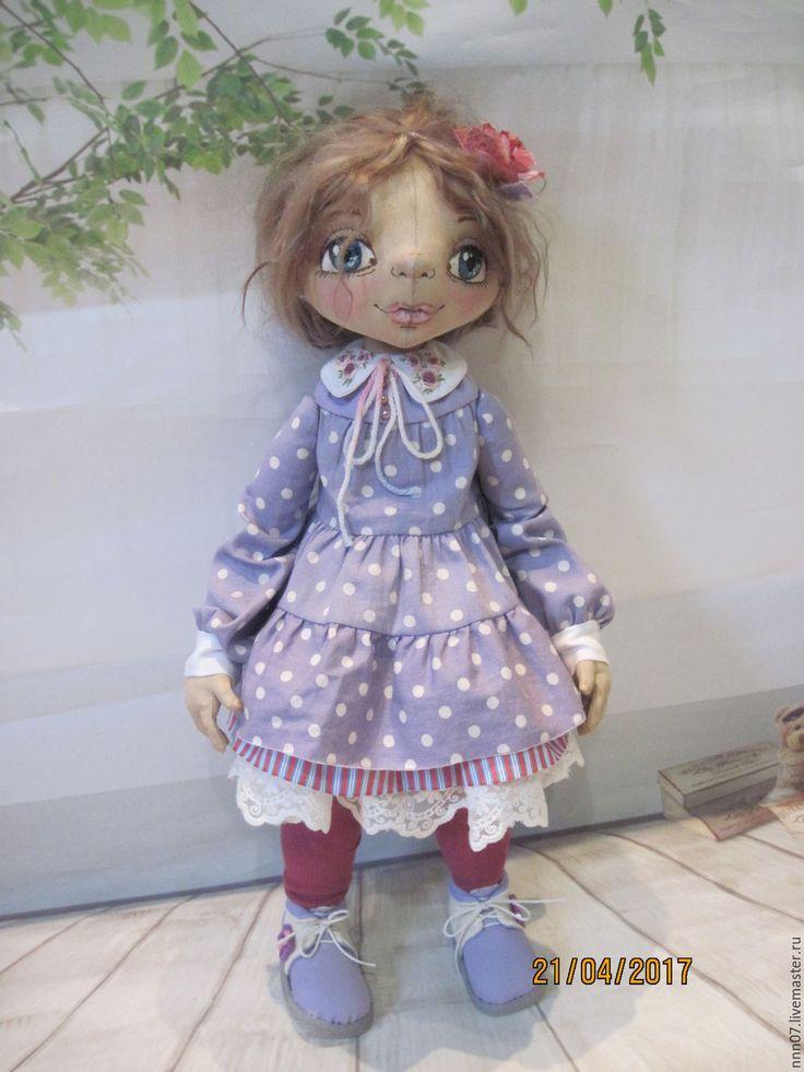 Купить Авторская текстильная кукла Олька - васильковый, авторская кукла, коллекционная кукла, текстильная кукла