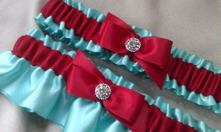 Tiffany Blue Red Wedding Garter Set Rhinestone Accent Bridal. $31.00, via Etsy.